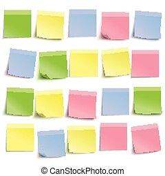 White Board Colored Sticks - Colored stickers on the white...