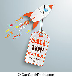 Price Sticker Angebot Rocket - Sale rocket with price...