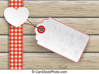Towel Wood Hearts Big Price Sticker - White paper heart with...