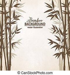 Bamboo forest card. - Bamboo forest over gray background,...