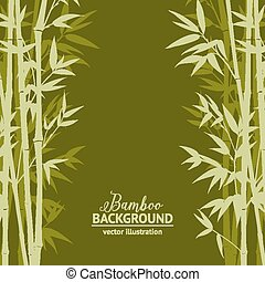 Bamboo forest card. - Bamboo forest over green background,...