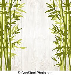 Bamboo forest card. - Bamboo green forest over wooden wall...