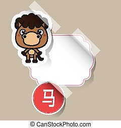 Chinese Zodiac Sign horse sticker with place for your text...