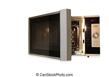 Microwave oven - Stainless steel microwave oven isolated on...