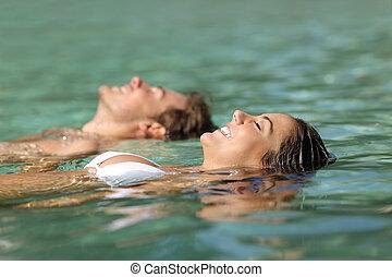 par, tropicais, recurso, mar, turistas, natação