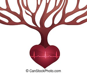 Abstract tree with roots of heart shape and normal heart beat rhythm