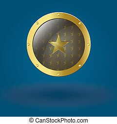 Vector illustration of gold seal. With the star placed in...