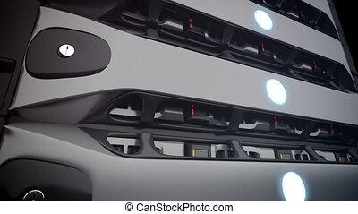 Closeup Modern Network servers in a data center. Loop....