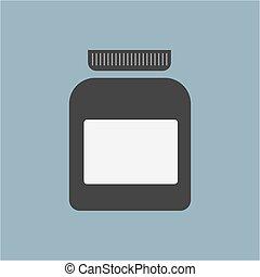 Blank medicine bottle isolated on background, illustration. Single.