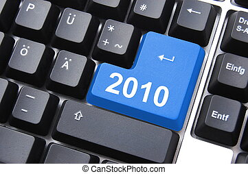 happy new year 2010 button on computer keyboard...