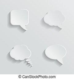 Chat bubbles - paper cut design. White color on light grey...