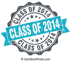 class of 2014 vintage turquoise seal isolated on white
