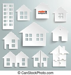 Paper Houses Set - White paper houses set on the gray...