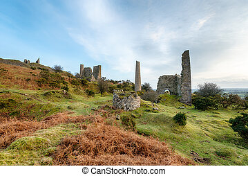 Old Copper Mines on Caradon Hill in Cornwall - The ruins of...