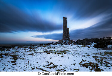 Night time on Bodmin Moor - A long exposure of a ruined...