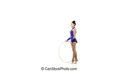 Gymnast with various sports subjects, slow motion