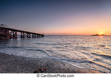 Sundown at Polpeor Cove - Sunset at Polpeor Cove at Lizard...