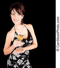 Attractive Woman Holding a Martini