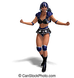 female super hero in black and blue outfit - 3D rendering of...