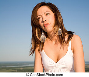 Beautiful Brunet Portrait Under a Blue Sky - This is a...