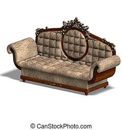 cushy sofa of louis XV. - 3D rendering of a cushy sofa of...