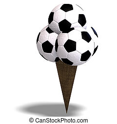 soccer balls in an ice cream cone - 3D rendering of a soccer...