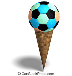 soccer ball in an ice cream cone - 3D rendering of a soccer...