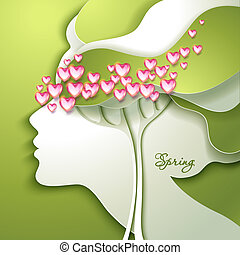 Beautiful young woman with flowers in hair - Greeting Card...