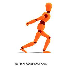 orange / red  manikin pulling something
