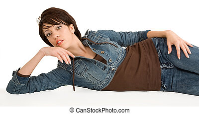 Beautiful Brunette Lying Down and Relaxing
