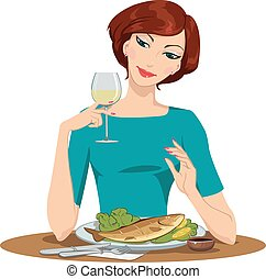 girl eating fish and drinking wine - girl having dinner and...