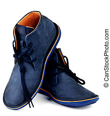 Shammy Boots - Fashionable Blue and Orange Shammy High Shoes...