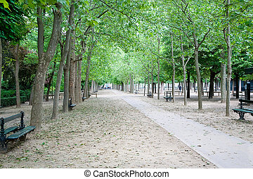 Jardin du Luxembourg, Paris, France - A walkway in the...