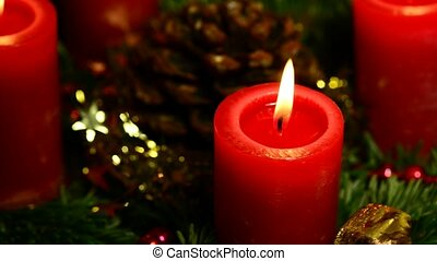 Advent wreath with burning candles