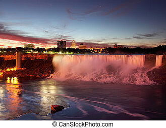 Niagara Falls USA just Before Sunrise - This is a view of...
