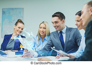 business team with tablet pc having discussion - business,...