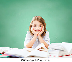 happy student girl with books at school - education, people,...