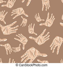 Seamless pattern of hands, vector illustration for your...