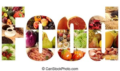 food collage on white