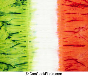 tie dye - Italian flag. Abstract tie dyed fabric background