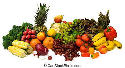 Vegetables and Fruits - This is a close-up of vegetables and...