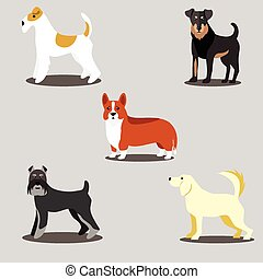 Dogs vector set of icons and illustrations - vector icons...