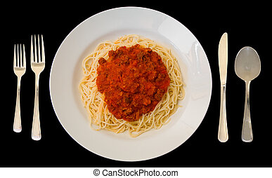 Spaghetti - This is a close-up of one serving of spaghetti.