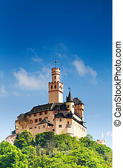 View of Marksburg castle on the hill top