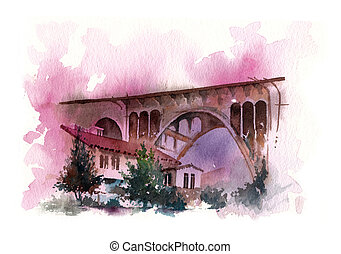 bridge water colour painting, houses under the structure