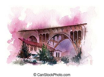 bridge water colour painting