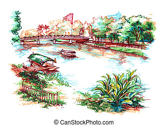 asian country riverside water colour painting illustration -...