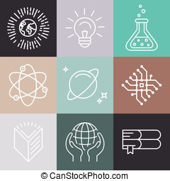 Vector linear science icons - Vector linear science related...
