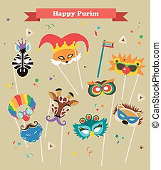 design for Jewish holiday Purim with masks and traditional...
