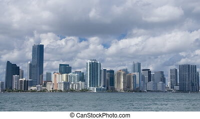 Miami skyline - Time lapse with slow pan of the Miami...